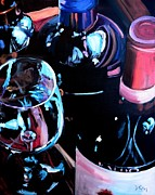 Wine Glasses Paintings - Happy Hour by Donna Tuten
