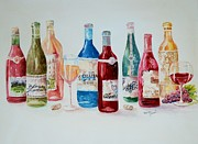 Wines Mixed Media Prints - Happy Hour Print by Marilyn  Clement