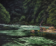 Fly Fisherman Paintings - Happy Hour on the North Umpqua by Andrew Duclos