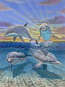 Dolphin Painting Prints - Happy Hour Re003 Print by Carey Chen