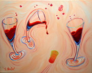 Bubbly Painting Framed Prints - Happy Hour Framed Print by Sandi Whetzel