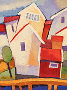 Fishing Village Painting Posters - Happy Houses Poster by Lutz Baar