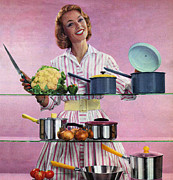 Housewife Prints - Happy Housewife In Kitchen 1960s Uk Print by The Advertising Archives