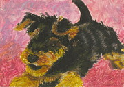 Dog Portraits Pastels Prints - Happy Print by Jeanne Fischer