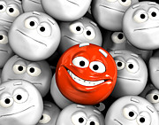 Grey Art - Happy laughing emoticon face among others by Michal Bednarek