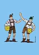 Cheers Framed Prints - Happy Lederhosen Men With Beer Stein Framed Print by Frank Ramspott