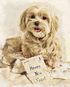 Puppy Mixed Media - Happy New Year by Andrea Auletta
