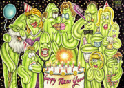 Happy Drawings Posters - Happy New Year  Poster by Cactus Town