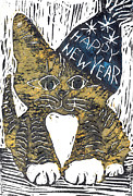 Relief Print Painting Prints - Happy New Year Cat  Print by Ellen Miffitt