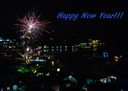 Asien Prints - Happy New Year Greeting Card - Fireworks Display Print by Colin Utz