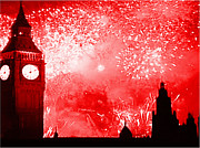 London England  Mixed Media - Happy New Year - Large by Richy Ross