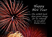 New Year Posters - Happy New Year Psalm 123-3 Poster by Michael Peychich