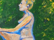 Artistic Nude Framed Prints Framed Prints - Happy Nude in Garden Framed Print by Esther Newman-Cohen