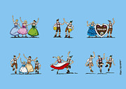Deutschland Metal Prints - Happy Oktoberfest Cartoon People Metal Print by Frank Ramspott