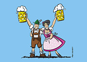 Bier Framed Prints - Happy Oktoberfest Couple Beer Framed Print by Frank Ramspott