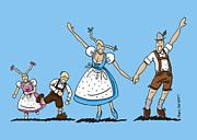 Ramspott Prints - Happy Oktoberfest Couple With Children Print by Frank Ramspott