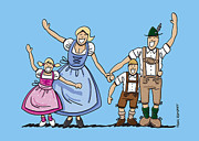 Ramspott Prints - Happy Oktoberfest Family Waving Hands Print by Frank Ramspott