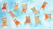 Blue Chairs Prints - Happy Orange Chairs Print by Linda Woods