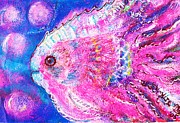 Smiling Mixed Media - Happy Pink Fish Version 2 by Anne-Elizabeth Whiteway