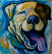 Staffordshire Bull Terrier Paintings - Happy Pitt bull by Darlene Grubbs