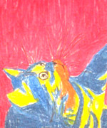Pen  Pastels - Happy Pop Art Cat by Patries Van dokkum