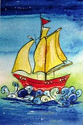 Toy Boat Mixed Media Prints - Happy Sailing ship  Print by Mary Cahalan Lee