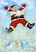 Cute Painting Posters - Happy Santa  Poster by David Cooke