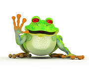 Copyspace Digital Art Posters - Happy smiling toon frog Poster by Michal Bednarek