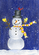 Snowy Night Paintings - Happy Snow by Rhonda Leonard