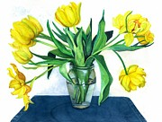Yellow Tulips Framed Prints - Happy Spring Framed Print by Barbara Jewell