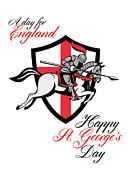 Happy St George Day A Day For England Retro Poster Print by Aloysius Patrimonio