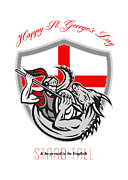 Happy St George Stand Tall Proud To Be English Retro Poster Print by Aloysius Patrimonio