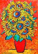 Happy Sunflowers Print by Ana Maria Edulescu