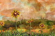 Fun Mixed Media Prints - Happy Sunflowers Print by Bedros Awak