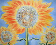 Florals On Canvas Posters - Happy Sunflowers Poster by Katie Puenner