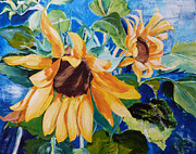 Suzanne Willis Metal Prints - Happy Sunflowers Metal Print by Suzanne Willis