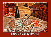Wooden Bowl Prints - Happy Thanksgiving San Juan by Diana Sainz Print by Diana Sainz