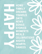 Happy Card Posters - Happy Things Blue Poster by Linda Woods