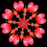 Kaleidoscope Art - Happy Valentines Day by Elizabeth Budd