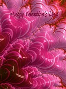 Backdrop Digital Art - Happy Valentines Day Hearts by Heidi Smith