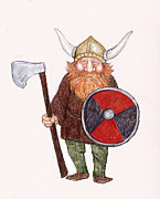 Danes Prints - Happy Viking Print by Peggy Wilson