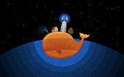 Night Art Prints - Happy Whale House Print by Sanely Great
