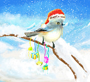 Snowy Digital Art Originals - Happy x-mas cartoon bird Poster by H B