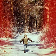 Child Photos - Happy young boy running in the winterly forest by Matthias Hauser