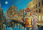 Travel Destinations Paintings - Harbingers of carnival by Dmitry Spiros