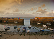 Cornwall Digital Art Prints - Harbor at dusk Print by Pixel Chimp