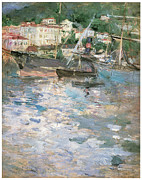 Boats In Harbor Metal Prints - Harbor at Nice Metal Print by Berthe Morisot