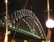 Night Lamp Posters - Harbor Bridge Poster by Ellen Henneke