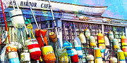 New England Ocean Mixed Media Prints - Harbor Cafe - Panoramic Print by Lauren Brading