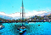 Digital Drawing Posters - Harbor Days Poster by Cheryl Young